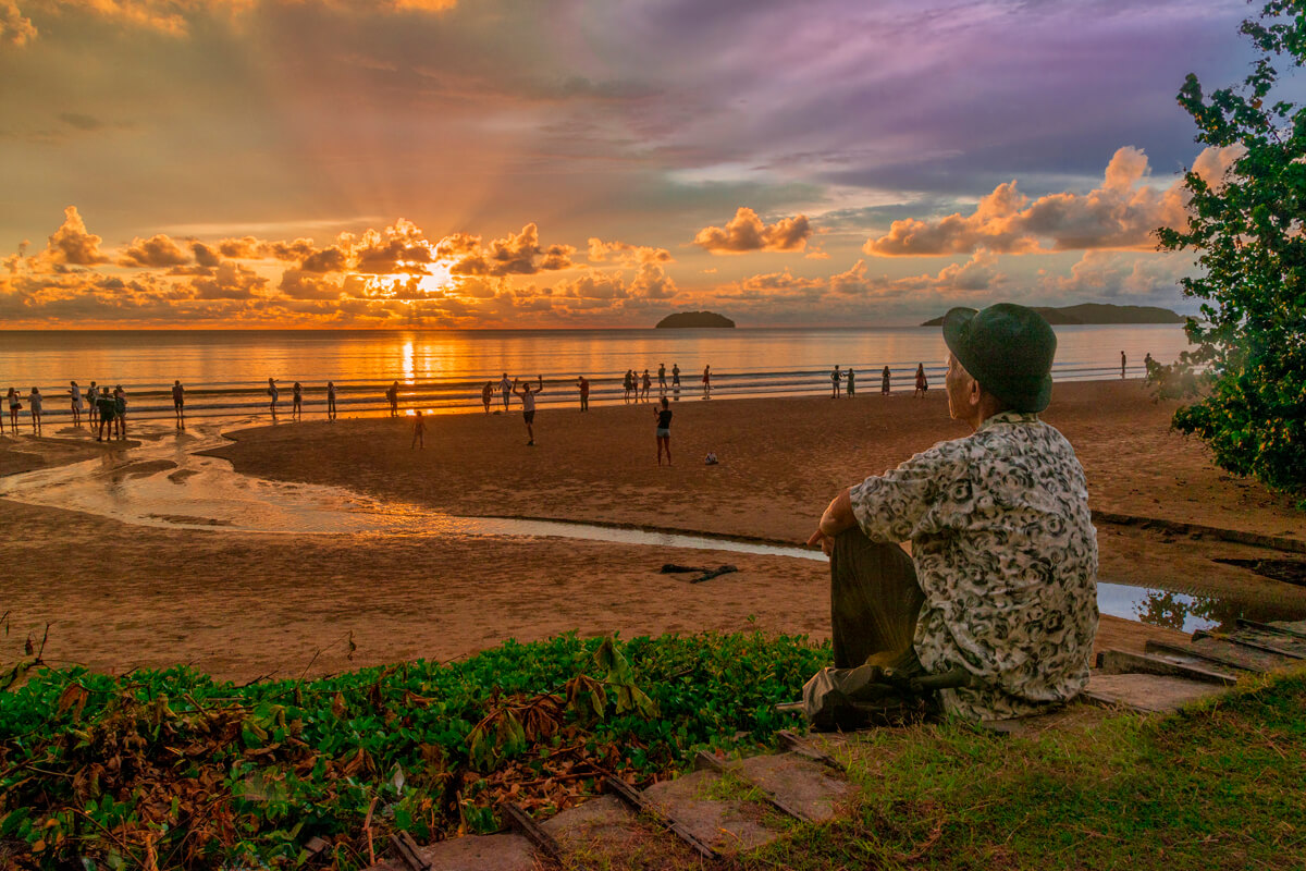Kota Kinabalu beach with sunset