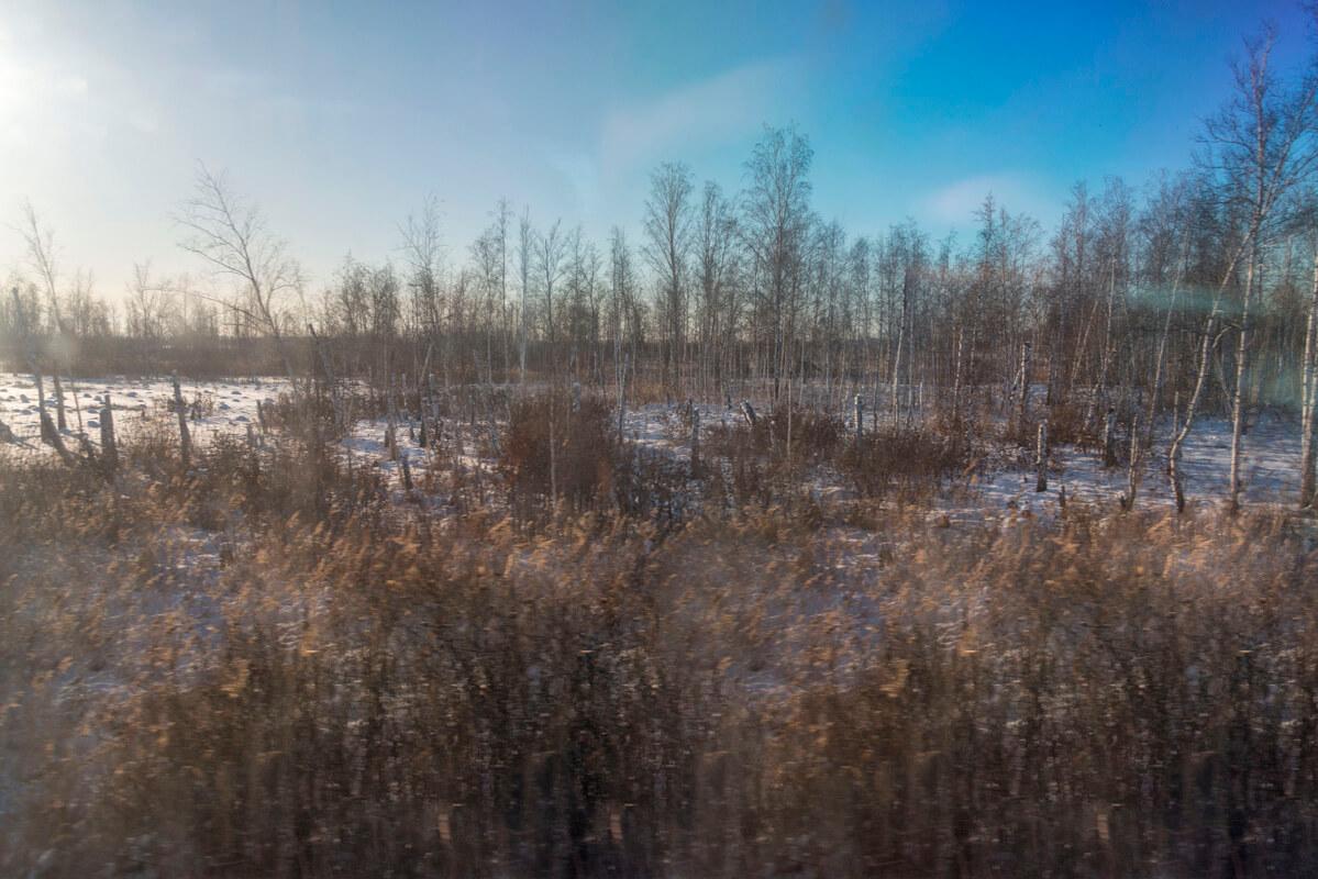Transsibírska magistrála v zime príroda