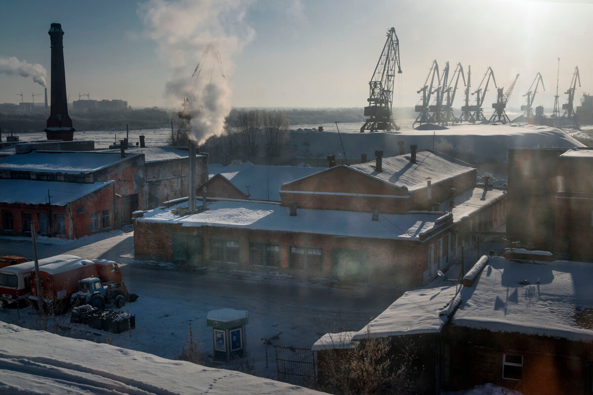 Transsibírska magistrála v zime mesto