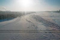Transsibírska magistrála v zime rieka