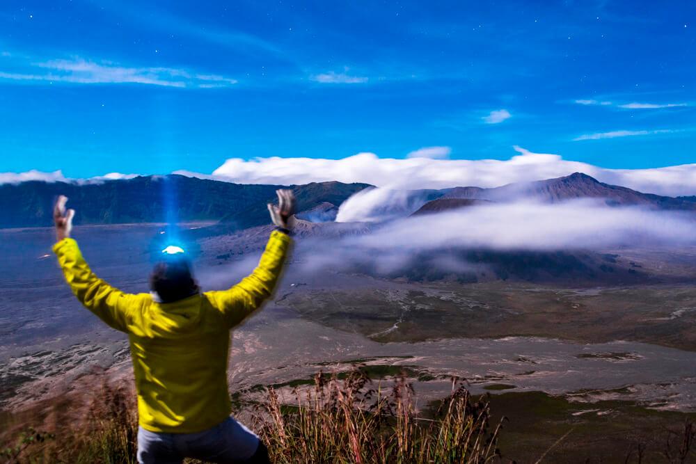 Mt Bromo zaháňanie oblakov