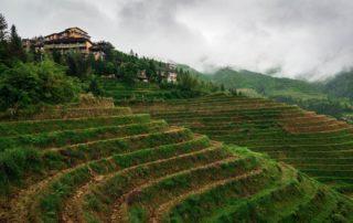 Terasovité políčka neďaleko mesta Guilin